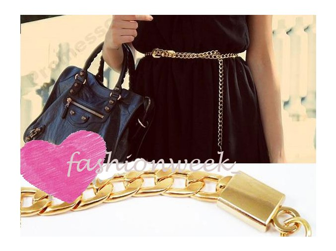 Dámsky úzky opasok k šatám Gold