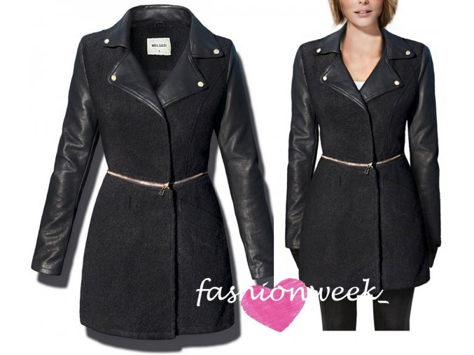 Štýlový unikátny kabát s koženými rukávmi F86