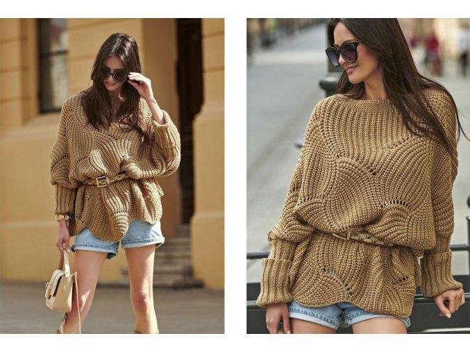 Exkluzívny pletený dlhý, voľný sveter v inovatívnom strihu JK25 / MILI