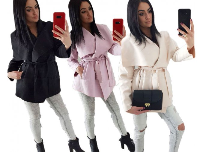Elegantný flaušový mini kabátik LINE6
