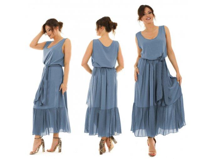 Nádherné dlhé letné šaty s volánikmi MF433