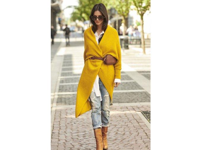 Dlhý vlněný sveter, pletený kabát LEA