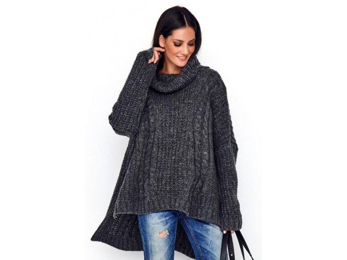 Pončo sveter s rolákom tučná vlnená pletenina SOPHIA