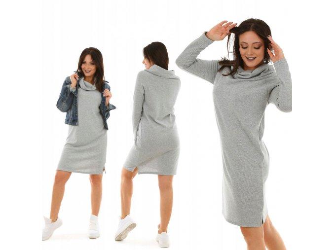 Dámske svetrové šaty voľné, pohodlné MF458