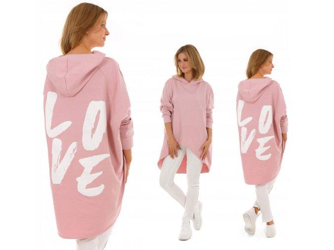 Oversized bavlnená mikina s kapucňou LOVE MF525