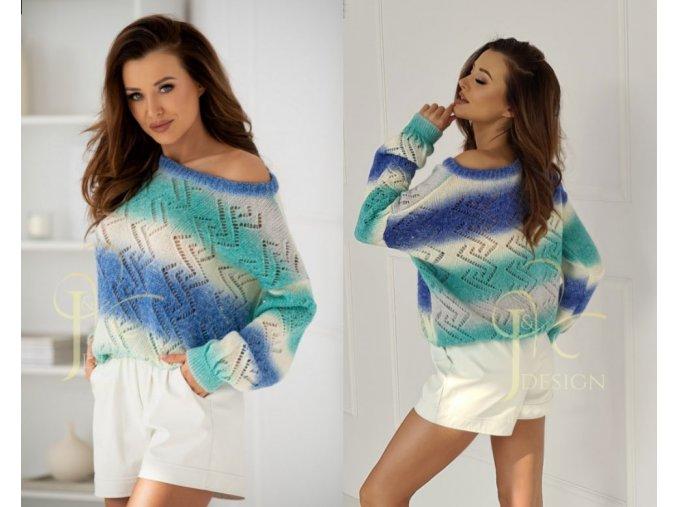 Dámsky luxusny azúrový sveter na jarné a letné dni Zygzak