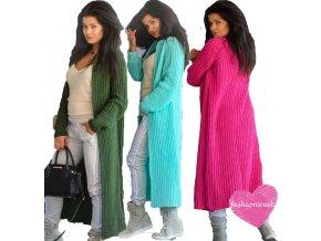 Luxusné nezvyčajné pletené dlhé svetre kabáty MAXI SV06