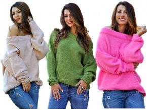 Oversize elegantný sveter s carmen výstrihom pre chladné dni JK19 / LILI