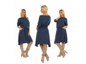 Asymetrické midi šaty s elastickým pásom MF31 / M906