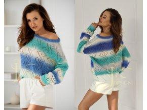 Dámsky luxusny azúrový sveter Zygzak