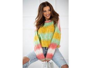 Dámsky luxusny azúrový tieňovaný ombre sveter ELIZA
