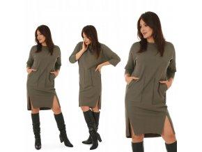 Pohodlné Mikinové bavlnené šaty s vreckami MIDI MF587