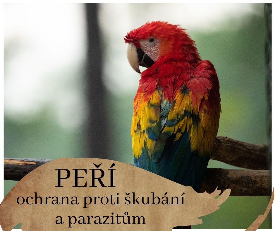 proti vyškubávání peří a parazitům, ochrana opeřenců, papoušků