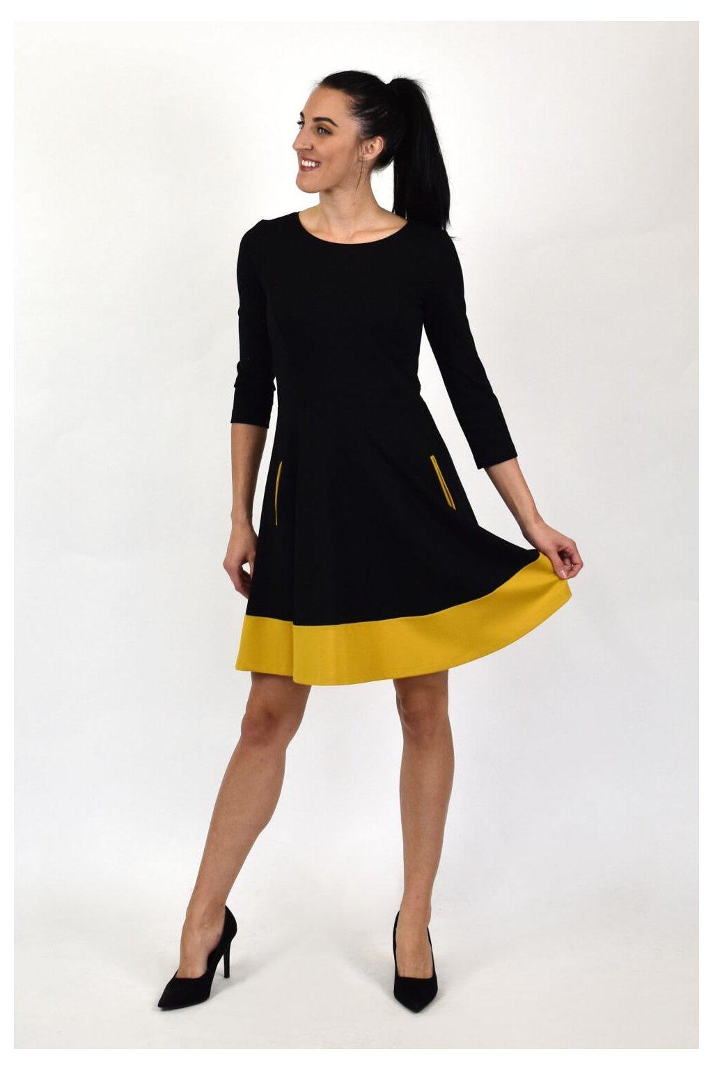 Dámske čierne šaty 3/4 rukávom