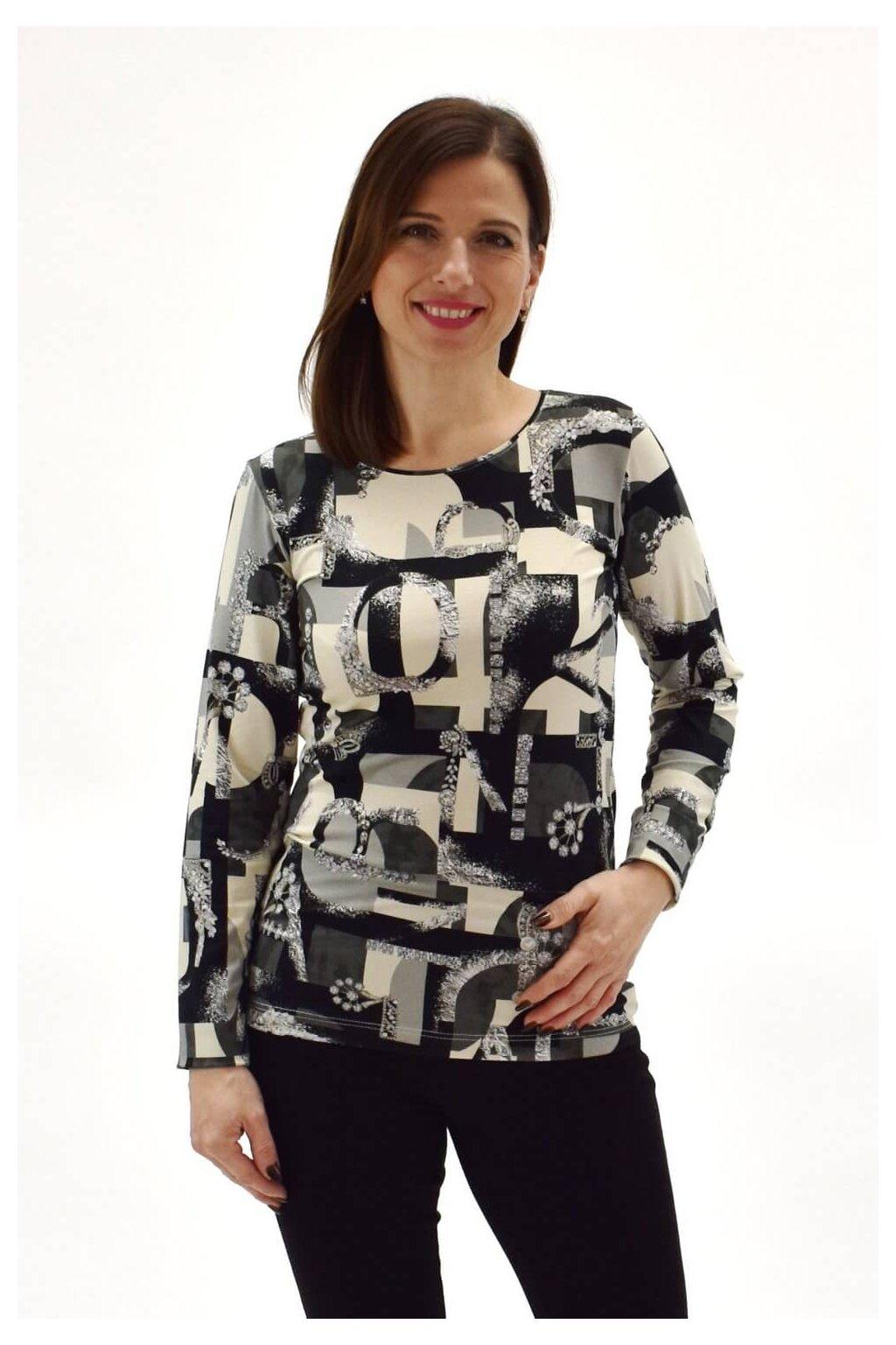 dámske tričko s potlačou kryštálov