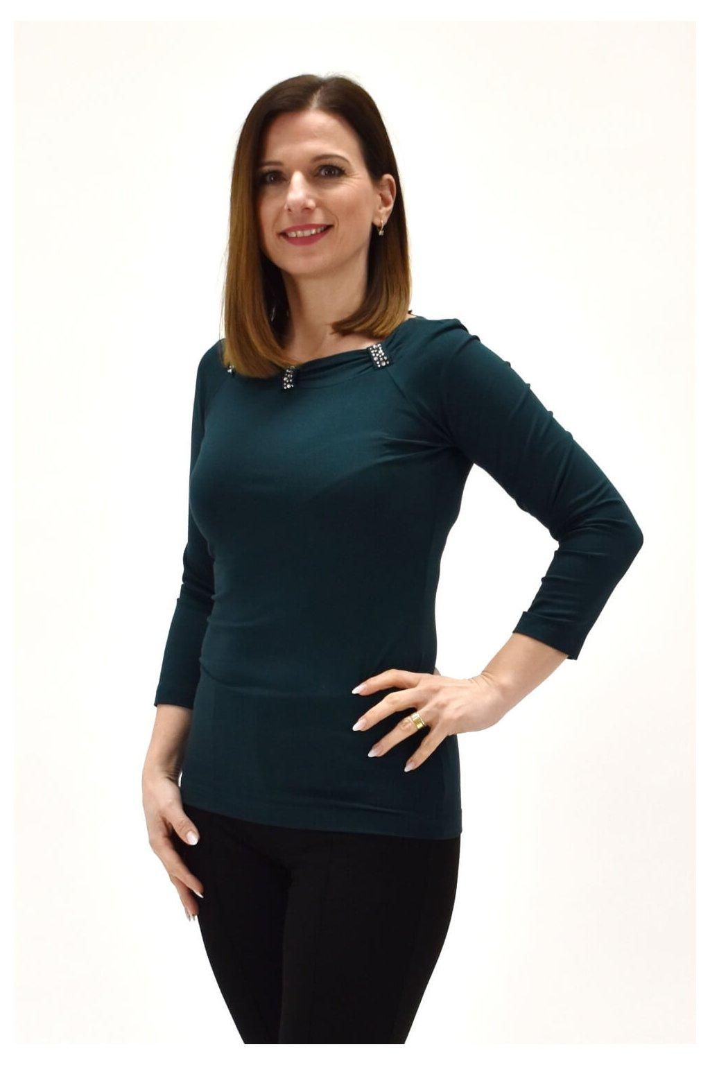 Smaragdovozelené tričko s kamienkamiMISIAM 3,4 7X6 SW