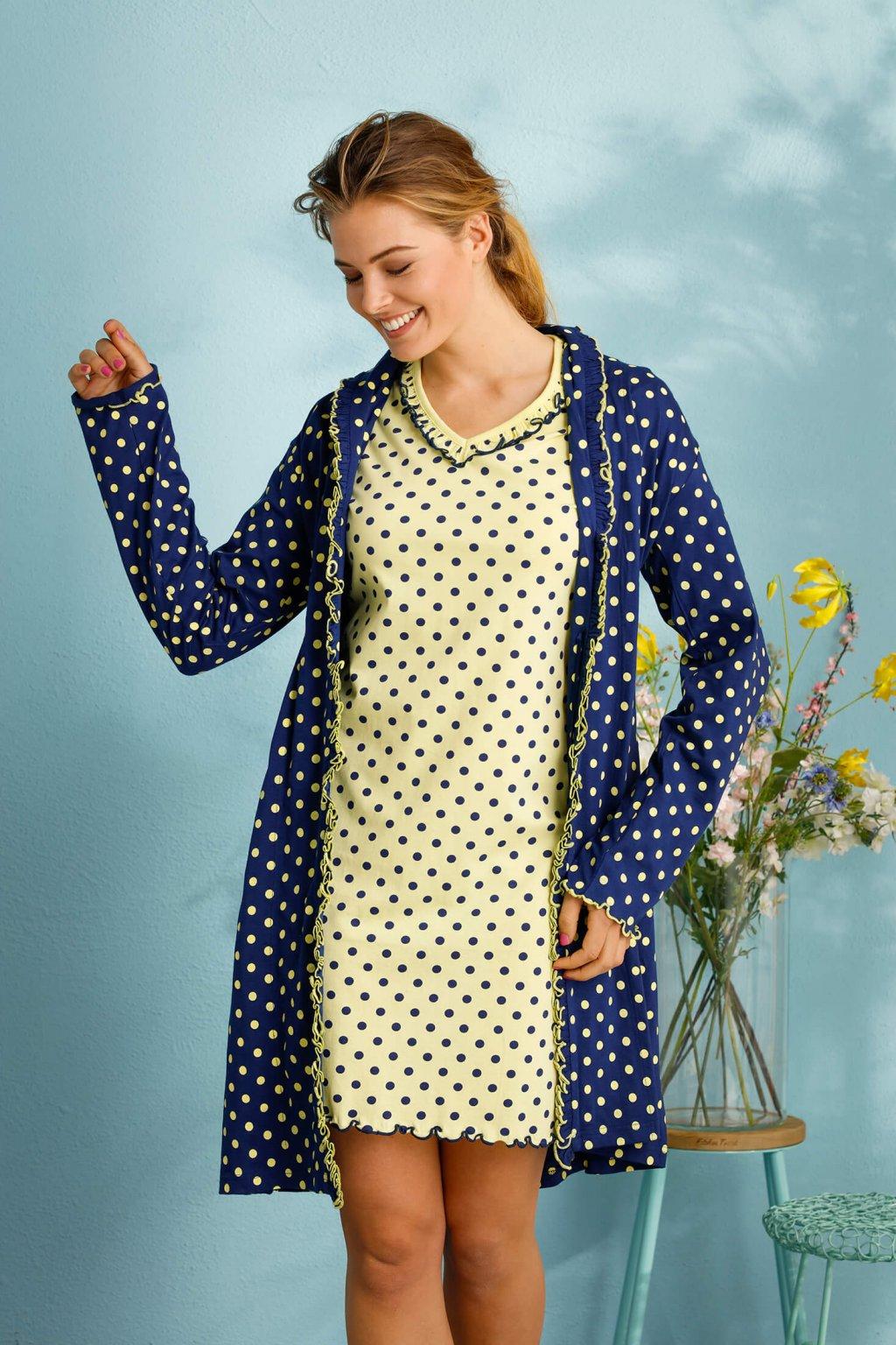 Dámska bledožltá nočná košeľa s bodkami