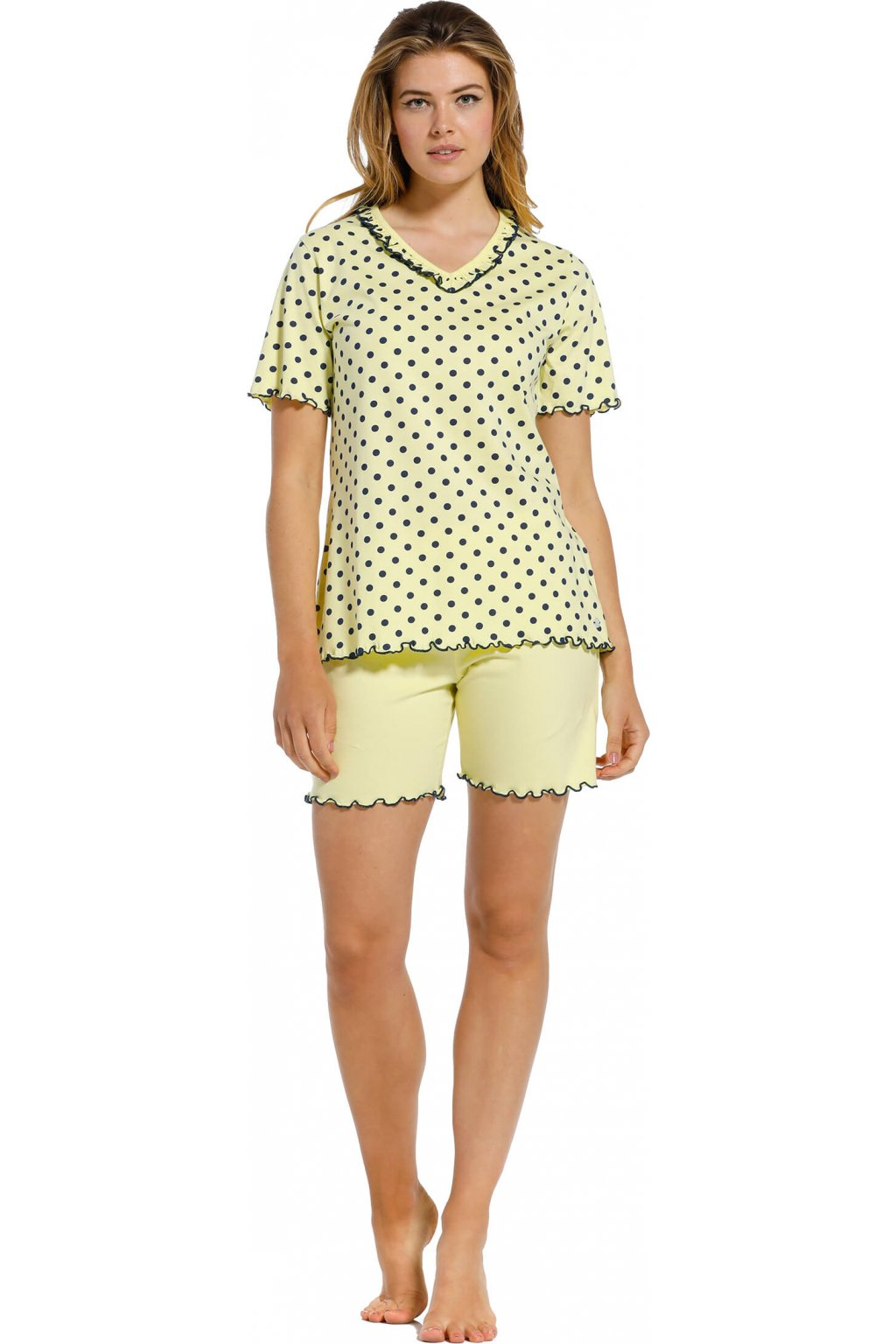bledožlté bodkované pyžamo