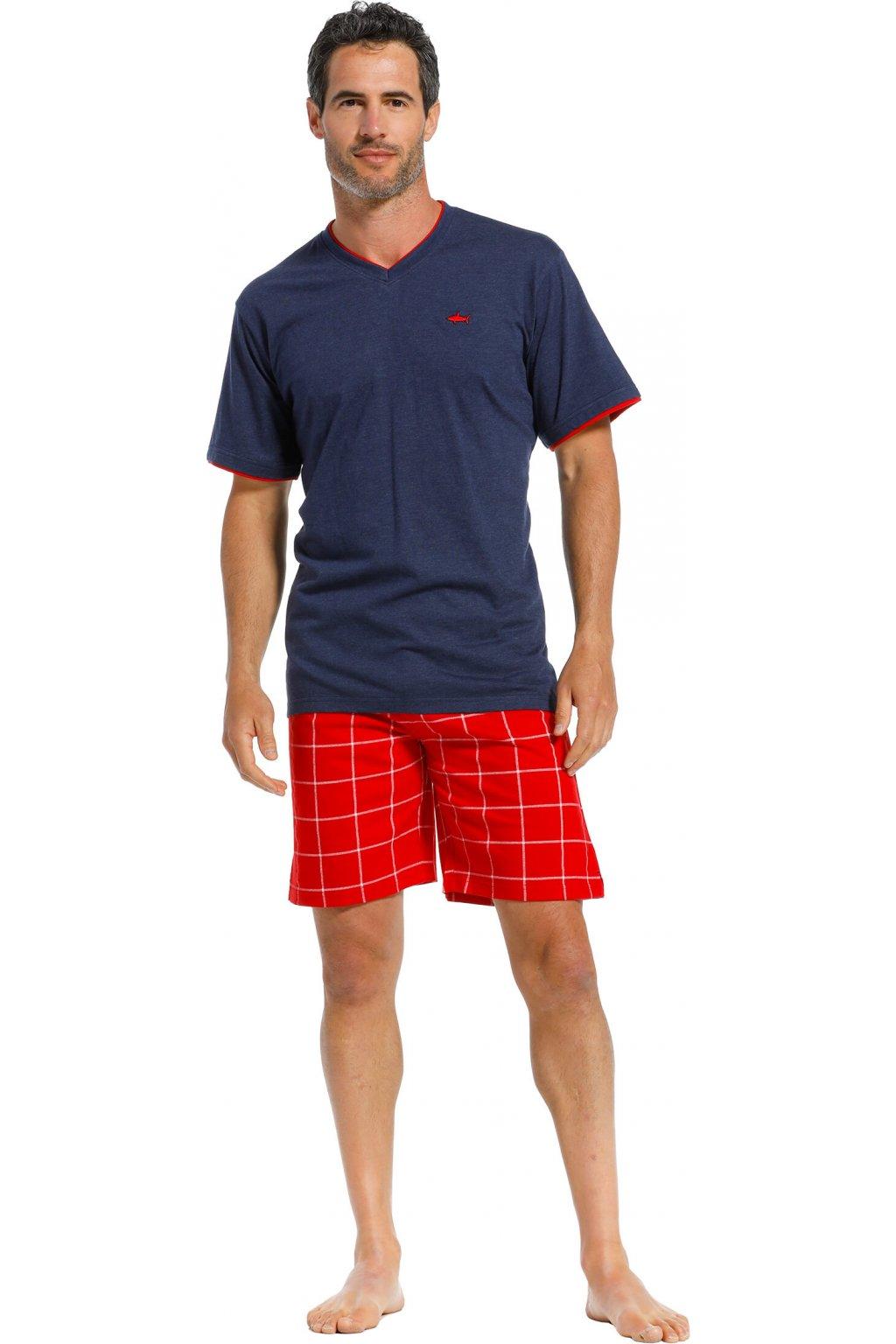 Pánske pyžamo modro červené kr