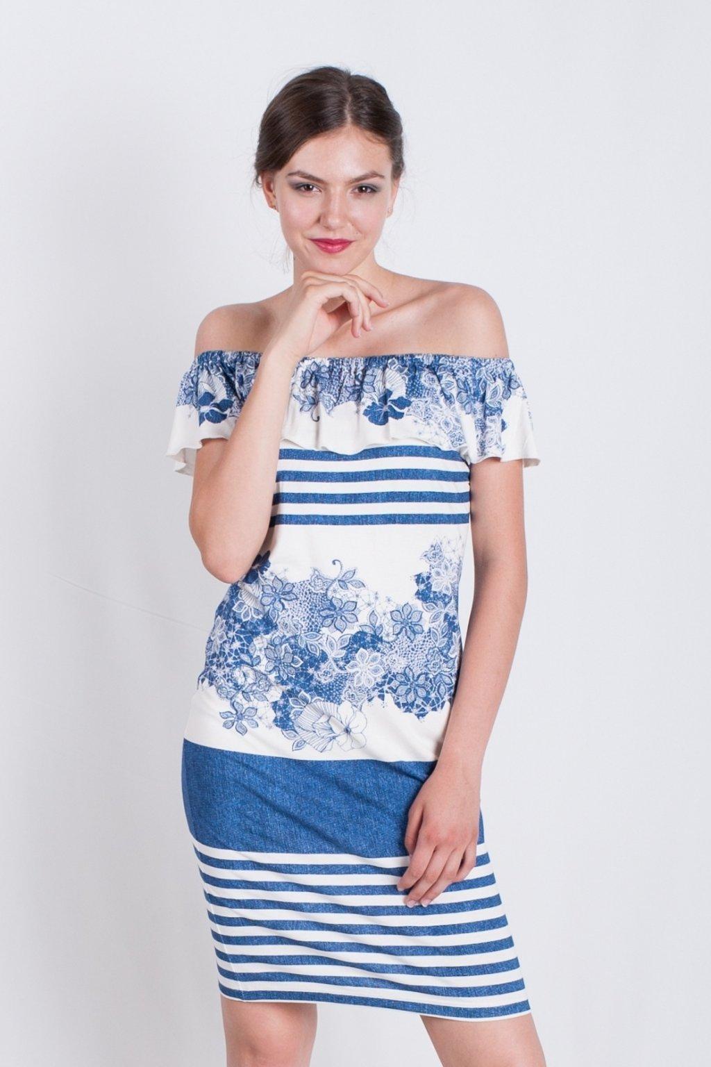 volánové modré šaty