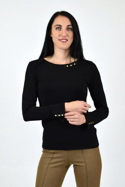 čierne elegantné tričko dlhý rukáv