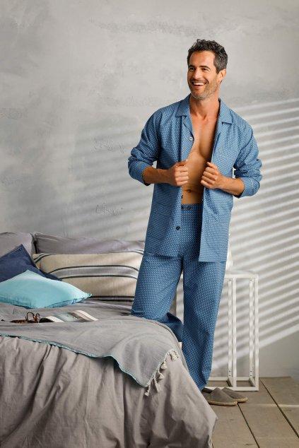Pánske pyžamo na gombíky s dlhým rukávom