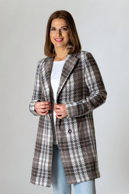 károvaný dámsky kabát