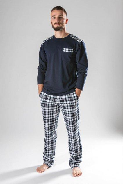 tmavomodré pyžamo s károm