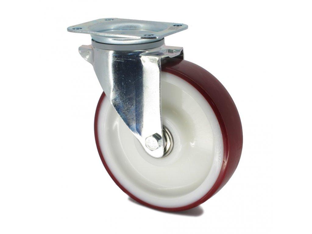 Kolečko s červenou polyuretanovou obručí 160 mm,otočné