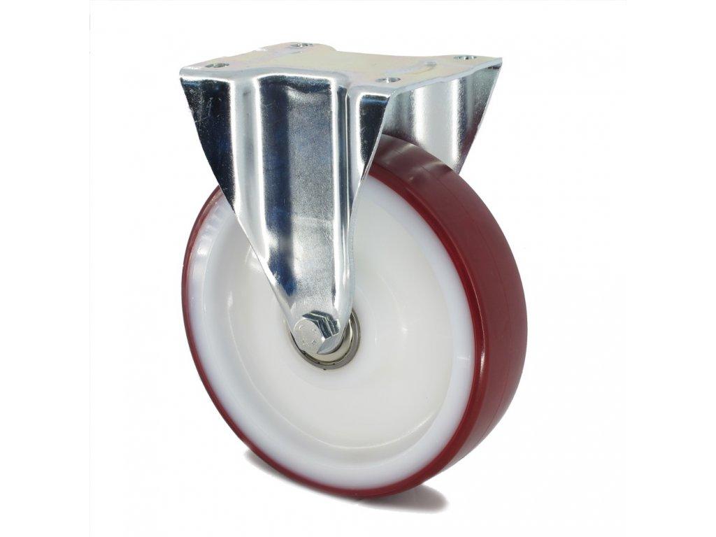 Kolečko s červenou polyuretanovou obručí 160 mm,pevné