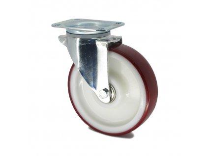 Kolečko s červenou polyuretanovou obručí 125 mm,otočné