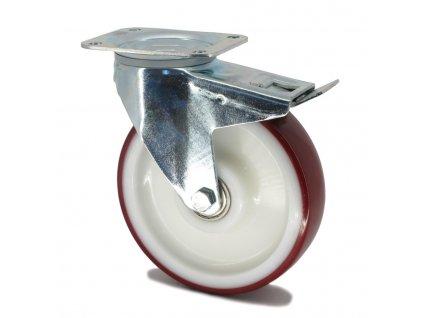 Kolečko s červenou polyuretanovou obručí 160 mm,otočné s brzdou