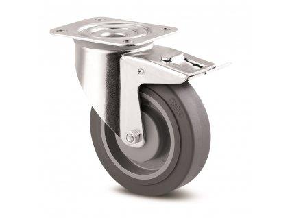 Neznačkující kolo 100 mm,otočné s brzdou,šedá supratech