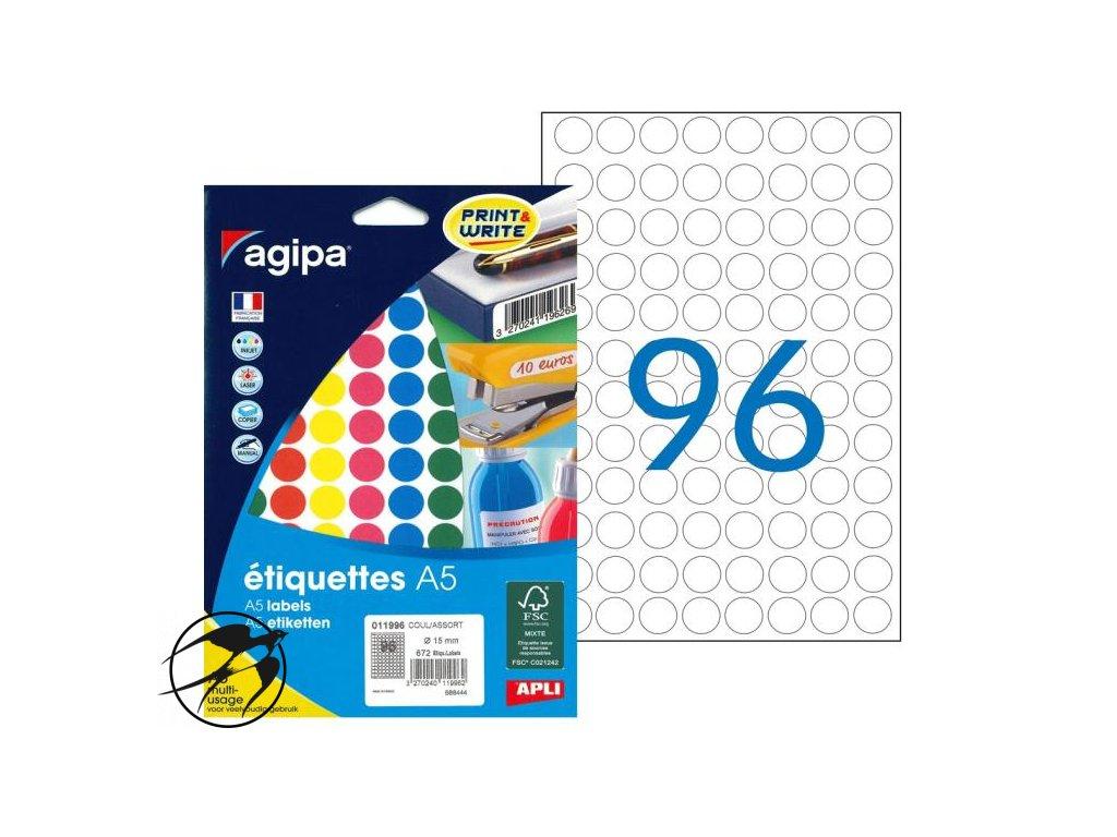 Etikety kruhové 15mm Agipa A5 mix 5 farieb