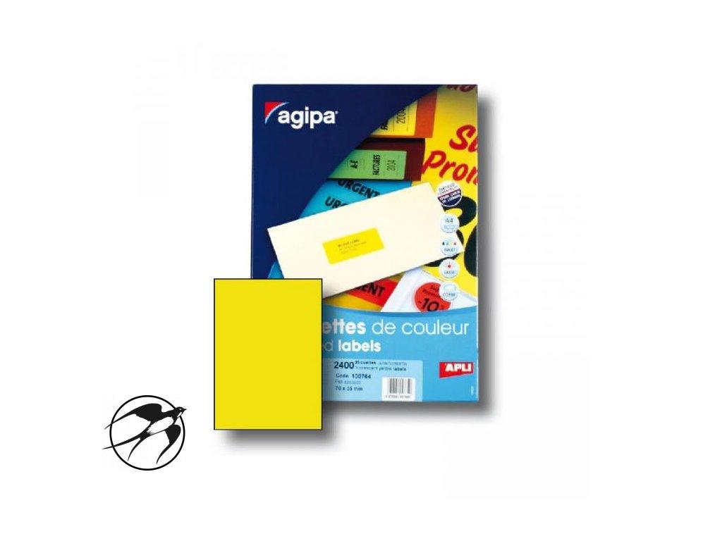 Etikety farebné 210x297mm APLI A4 100 hárkov fluo žlté