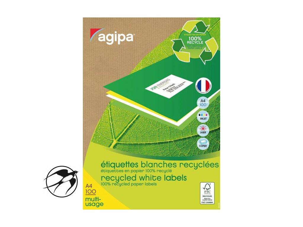Etikety univerzálne recyklované 38x21,2mm Agipa A4 100 hárkov