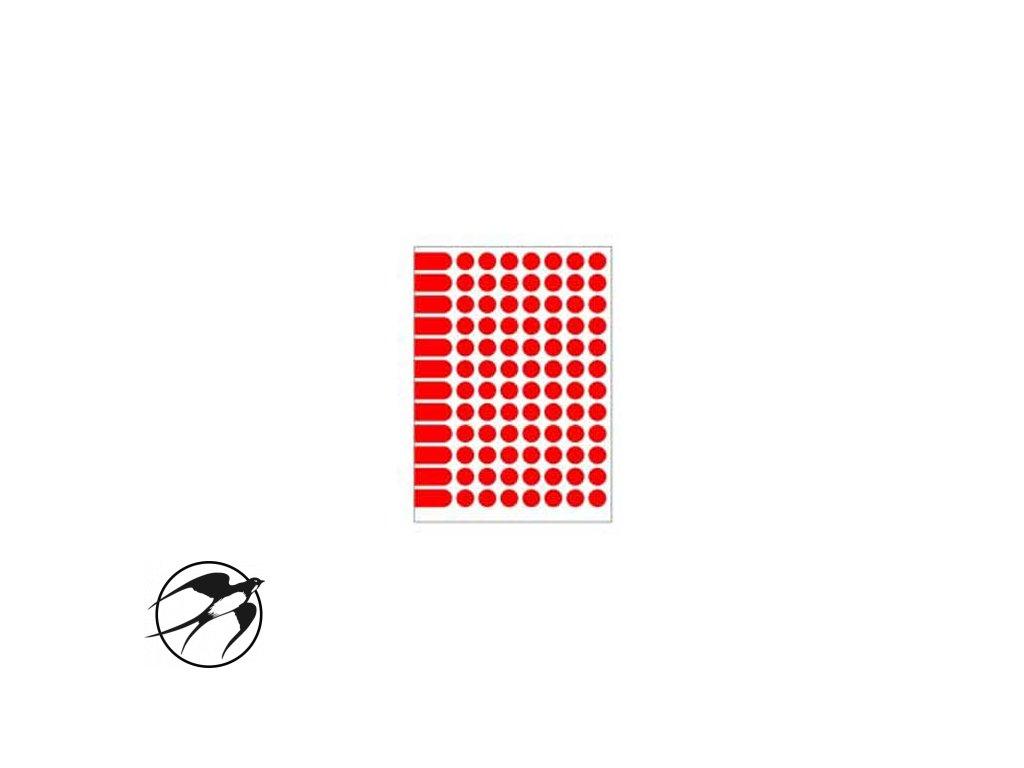 Etikety kruhové 15mm Agipa A5 červené