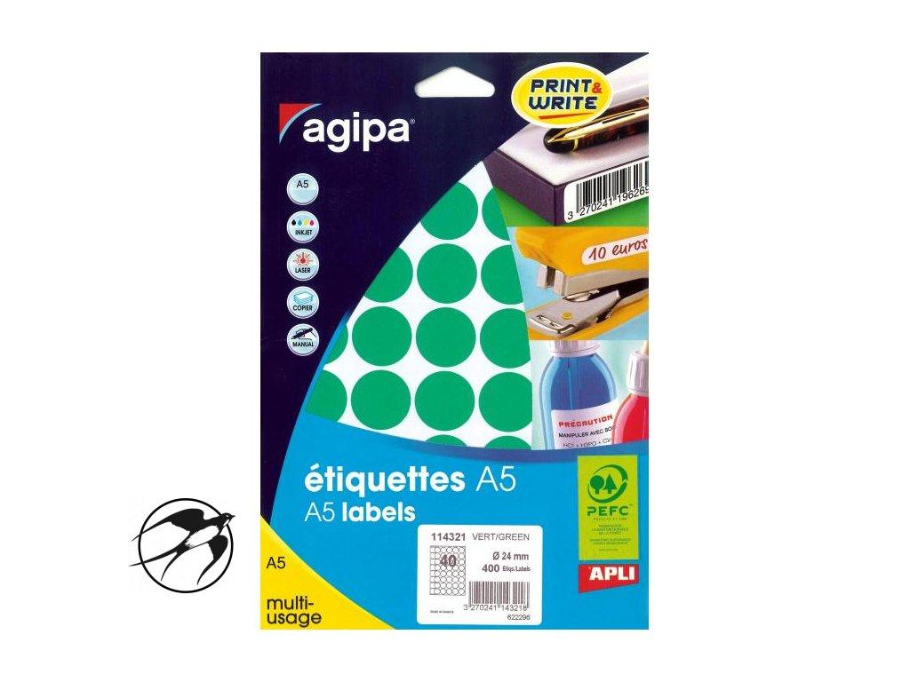 Etikety kruhové 24mm Agipa A5 zelené