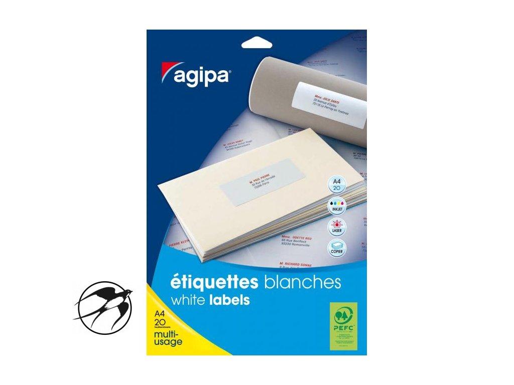 Etikety univerzálne na zakladače 190x60mm Agipa A4 20 hárkov