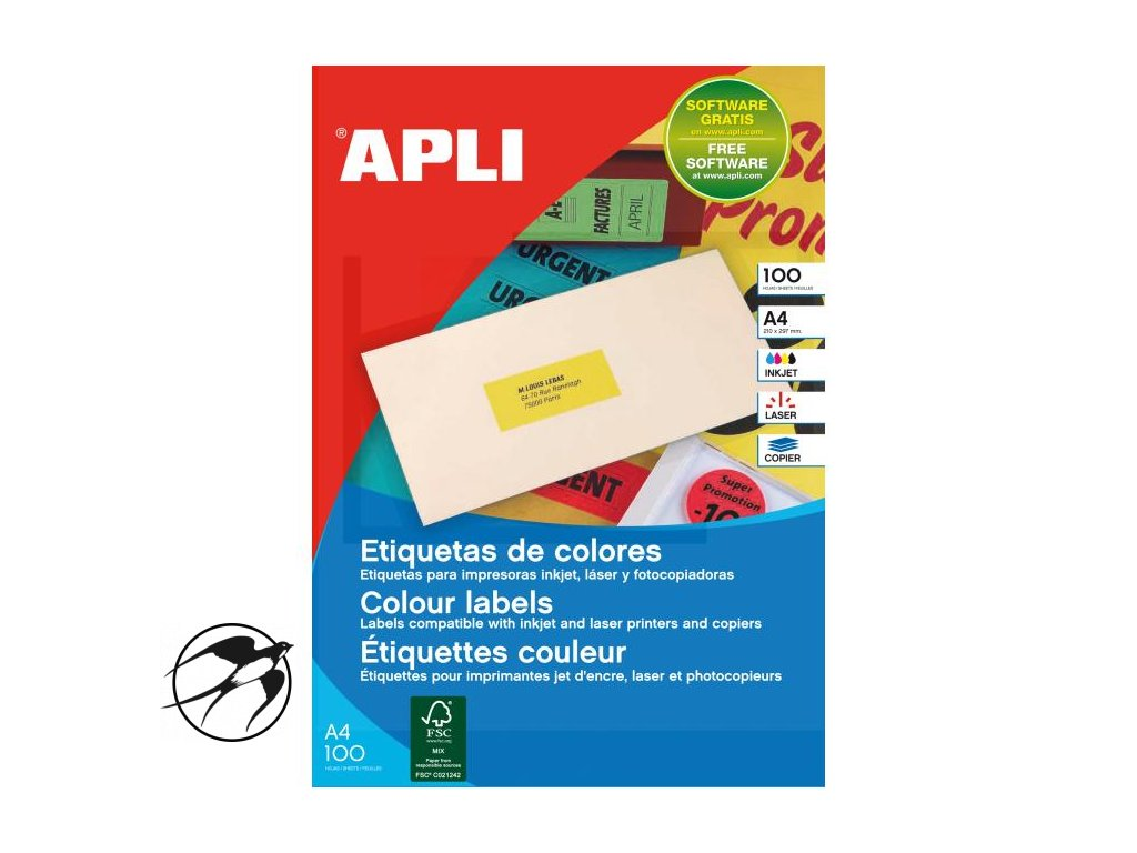 Etikety farebné 70x31mm APLI A4 100 hárkov fluo červené