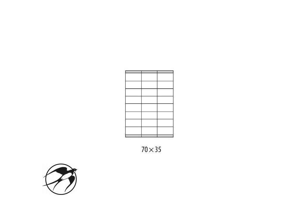 Etikety univerzálne 70x35mm Etibox A4 100 hárkov
