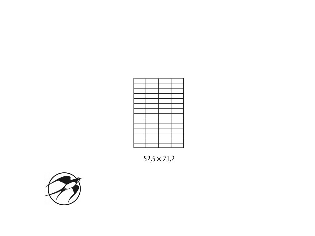Etikety univerzálne 52,2x21,2mm Etibox A4 100 hárkov