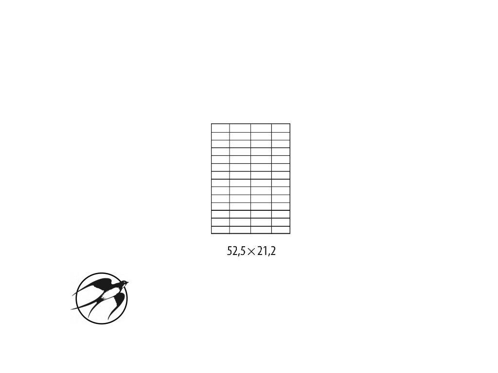 Etikety univerzálne 52,5x21,2mm Etibox A4 100 hárkov