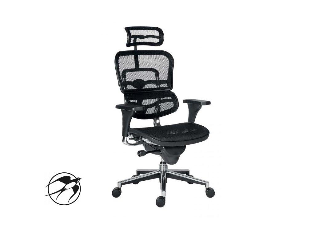 Kancelárska stolička Ergohuman sieťovaná, SY, čierna