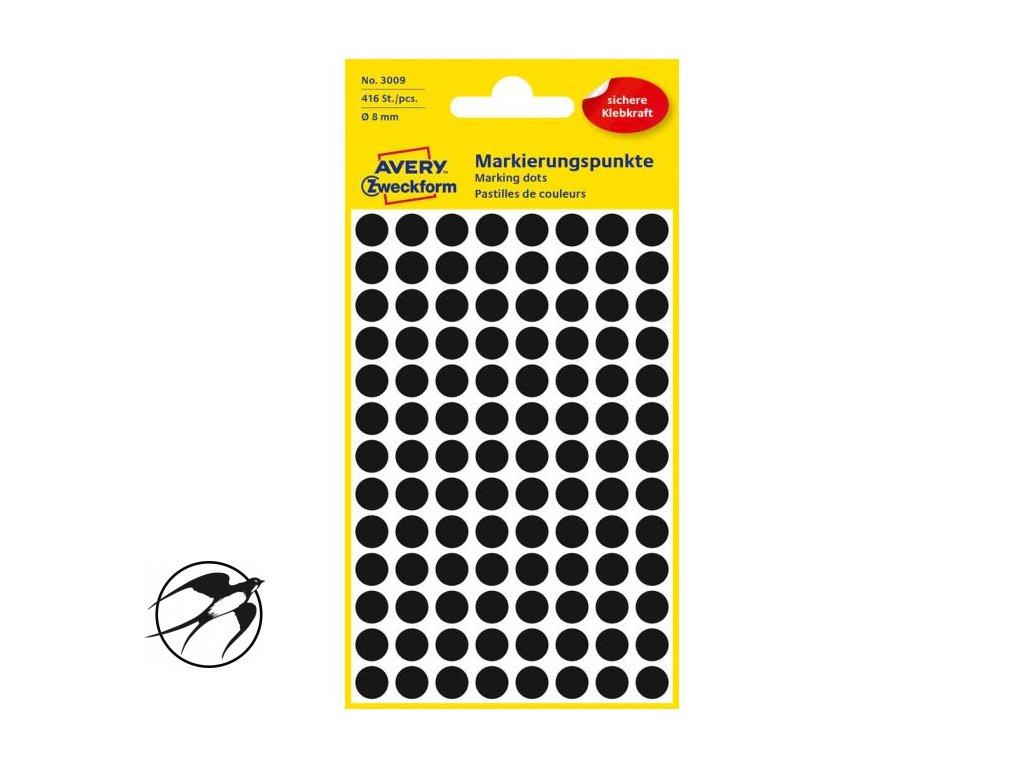 Etikety kruhové 8mm Avery čierne