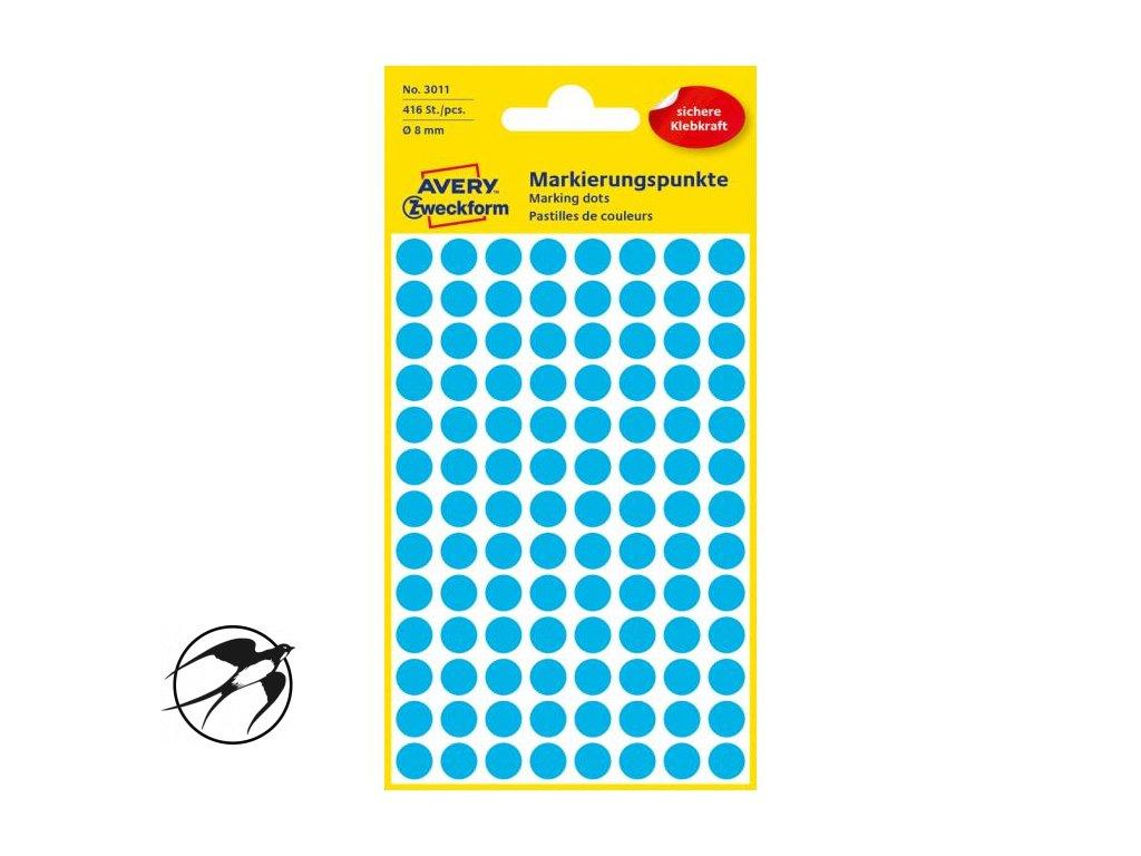 Etikety kruhové 8mm Avery modré