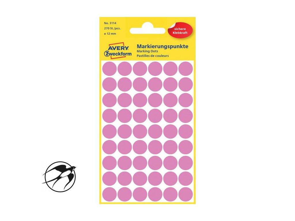 Etikety kruhové 12mm Avery ružové