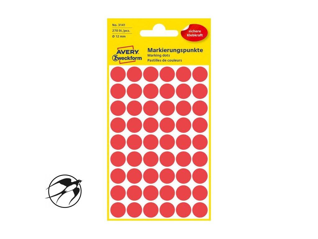 Etikety kruhové 12mm Avery červené