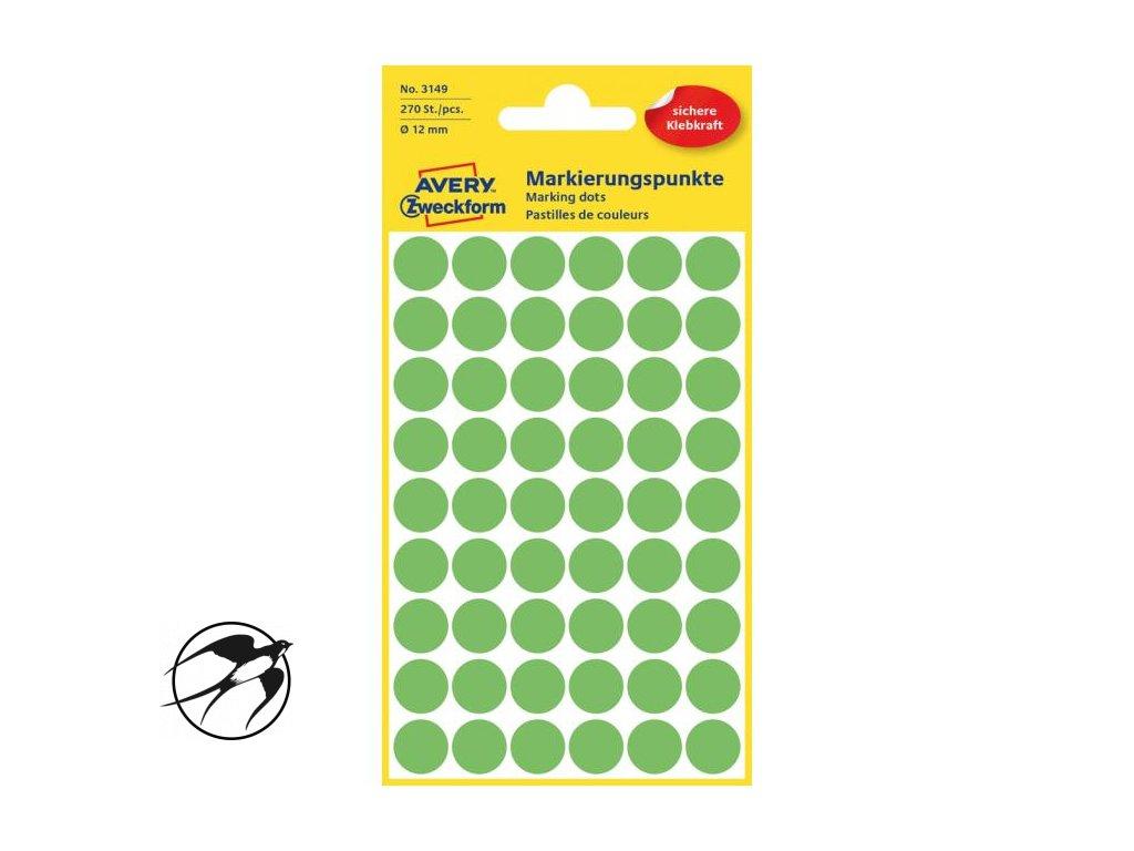 Etikety kruhové 12mm Avery neónovo zelené