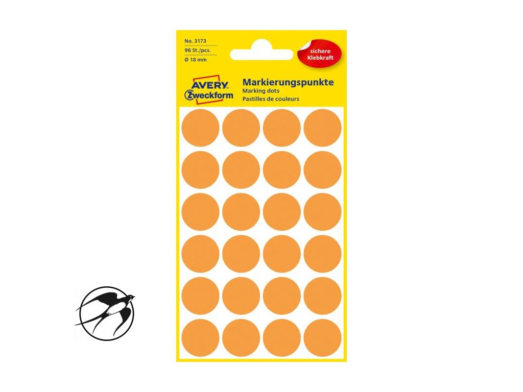 Etikety kruhové 18mm Avery neónovo oranžové